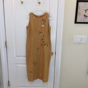 Mustard yellow dress with embroidered flowers
